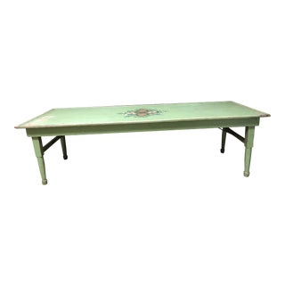 Vintage Primitive Green Painted Wood Folding Table For Sale