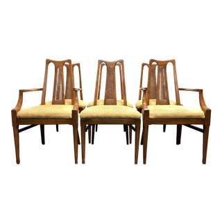 WHITE FURNITURE CO Mid Century Modern Walnut & Cane Dining Chairs - Set of 6