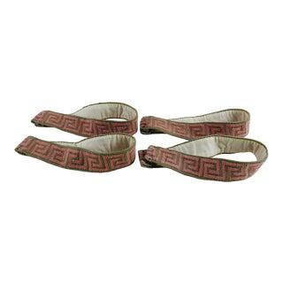 Greek Key Needlepoint Curtain Tie Backs - Set of 4 For Sale