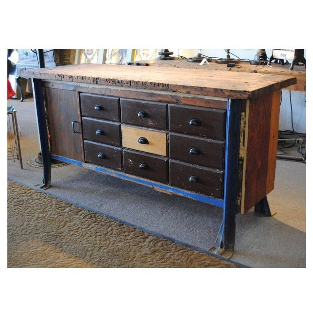 Vintage Wood Workbench Table or Console - Image 6 of 9
