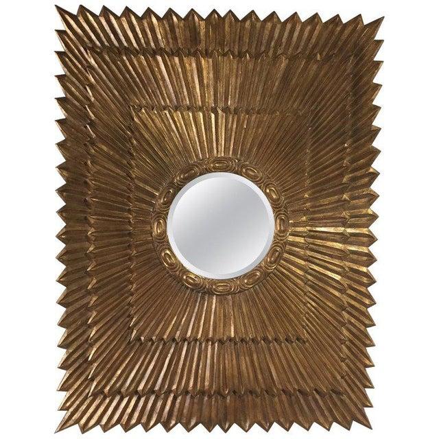 Italian Rectangular Giltwood Sunburst Mirror For Sale - Image 10 of 10