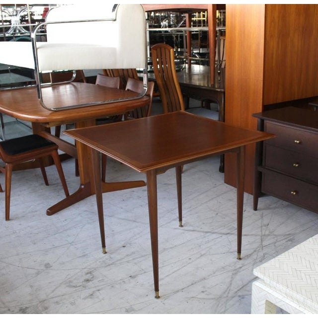 Italian Mid-Century Modern Walnut Game Table on Tapered Legs For Sale In New York - Image 6 of 6