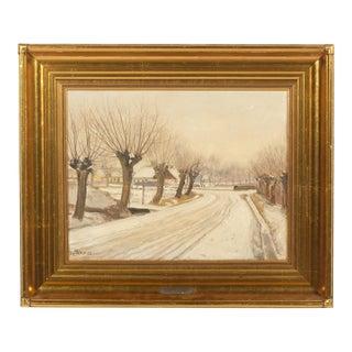 1913 Soren Christiansen Sparse Trees in Winter Landscape For Sale