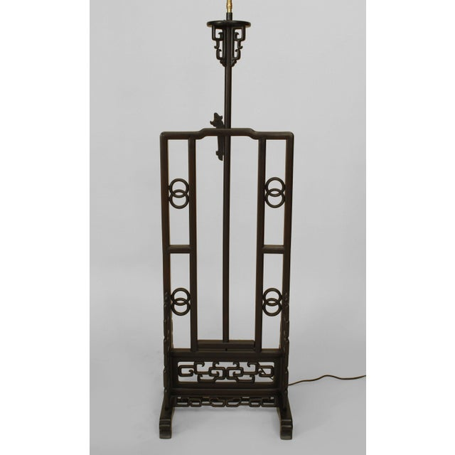 Mid 20th Century Asian Chinese Hardwood Floor Lamp For Sale - Image 5 of 9