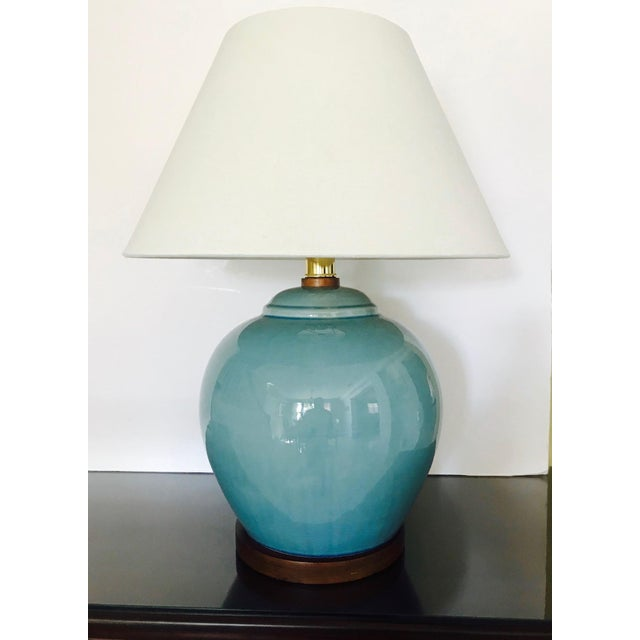 Art Deco Pair of Vintage Ralph Lauren Chinese Pottery Lamps in Robin's Egg Blue For Sale - Image 3 of 13