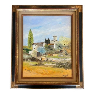 French Countryside Oil Painting (L' Eglise De Cros) For Sale
