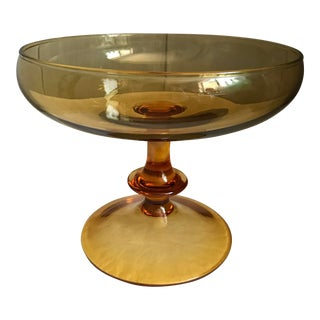 Vintage 60's Mid-Century Amber Glass Wide Mouth Pedestal Dish/Bowl For Sale