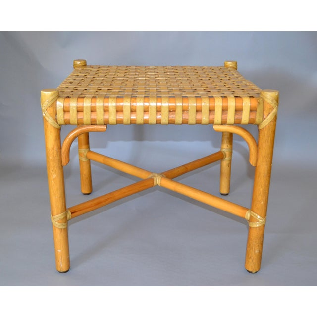 McGuire Mid-Century Modern Bamboo and Hand-Woven Leather Top Side Table / Stool For Sale - Image 13 of 13