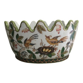 1990s Vintage Wong Lee Chinoiserie Porcelain Monteith Cachepot For Sale