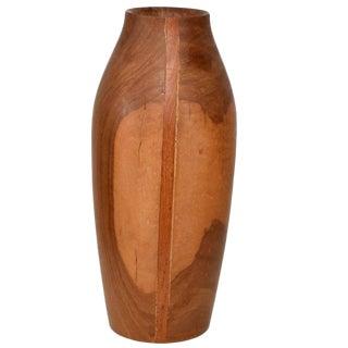 Mid-Century Modern Wood Vase Sculptural Shape For Sale