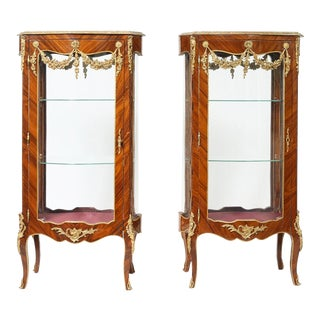 Mid 20th Century Louis XV Style Kingwood Veneered Vitrine - a Pair For Sale