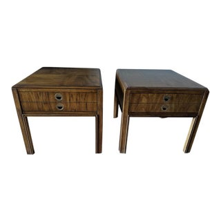 1970s Campaign Drexel Side Tables - a Pair For Sale