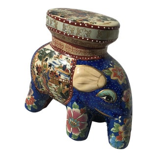 Blue Ceramic Asian Elephant Stool
