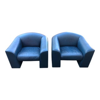 Oversized Post Modern Blue Leather Lounge Chairs - a Pair For Sale