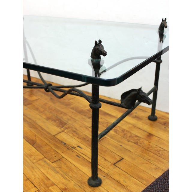 Chodoff Bronze Coffee Table in Giacometti Manner with Horse Heads and Glass Top For Sale - Image 11 of 13