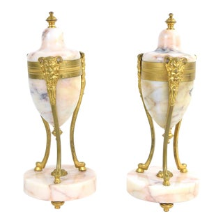 Pair Antique 19th Century Gilt Bronze Marble Urns Vases Pan Satyr Masks For Sale