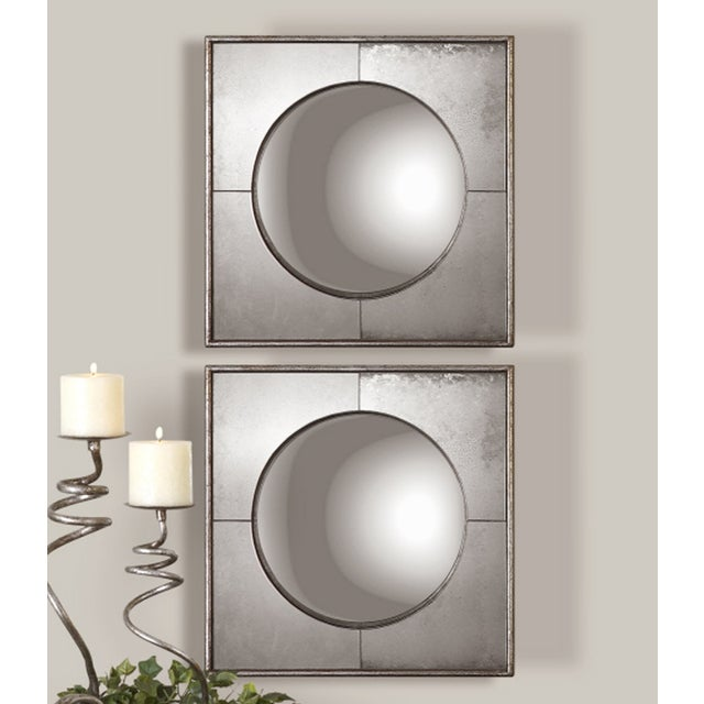 Silver Leaf Wall Mirrors- A Pair - Image 2 of 6