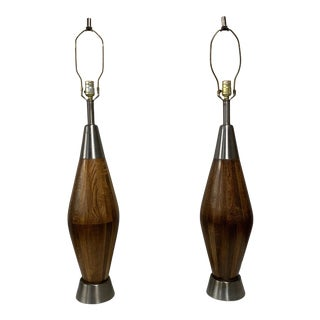 Mid-Century Wooden Table Lamps - a Pair For Sale