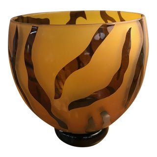 Handblown Tiger Striped Glass Bowl - Signed