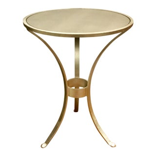 Contemporary Worlds Away Three Leg Silver Accent Table For Sale