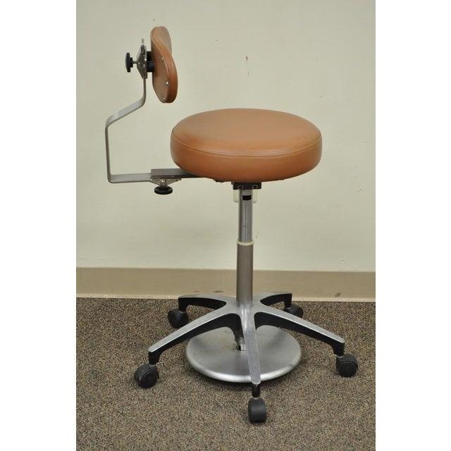 Vintage Mid Century Industrial Modern Adjustable Dental Dentist Chair Stool Seat For Sale - Image 4 of 11