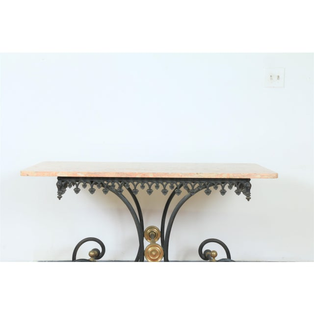 Hollywood Regency Wrought Iron & Marble Pastry Table For Sale - Image 3 of 8