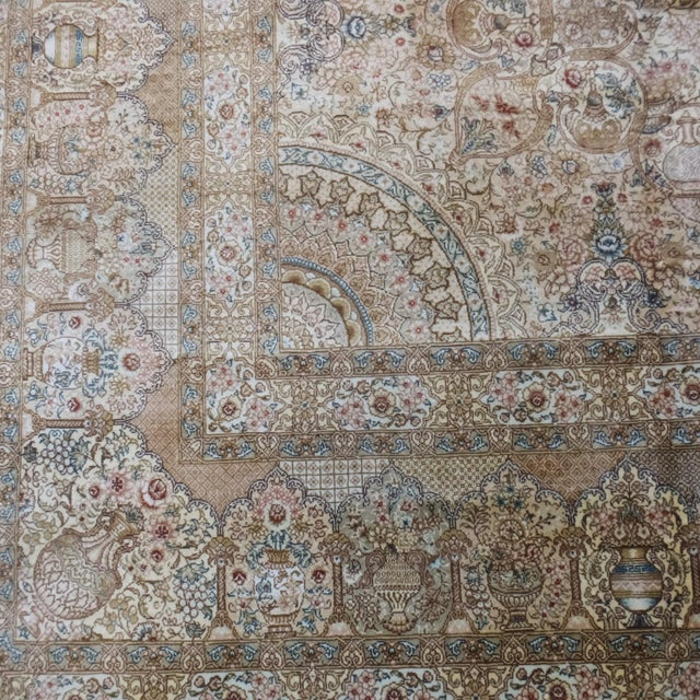 Leon Banilivi Pure Silk Tabriz Carpet - 8' x 10' For Sale - Image 9 of 10