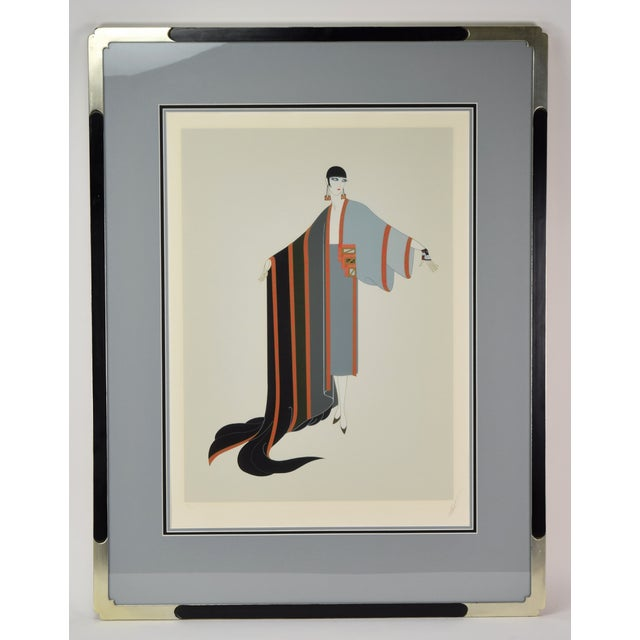 """Erte """"Michelle"""" French Art Deco Flapper Limited Edition Screenprint Signed For Sale In Chicago - Image 6 of 6"""