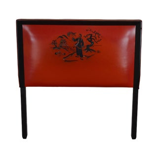Mid Century Asian Influenced Red & Black Vinyl Twin Headboard For Sale