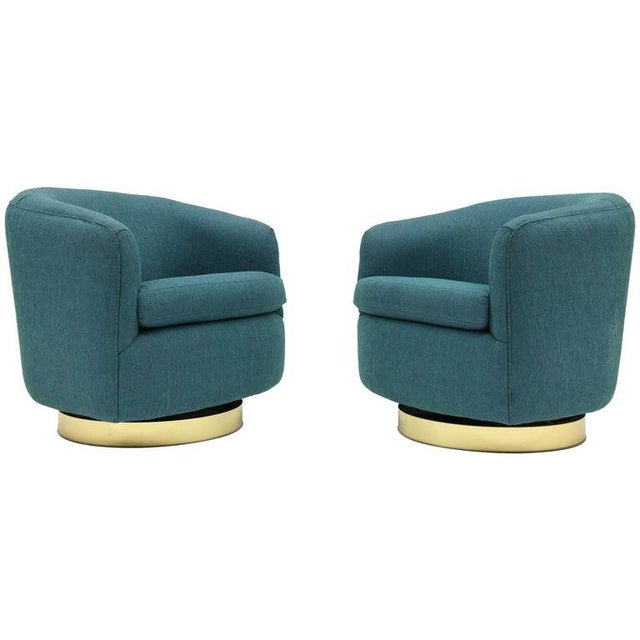 1980s Vintage Thayer Coggin Swivel Tilt Barrel Lounge Chairs by Milo Baughman- A Pair For Sale - Image 11 of 11