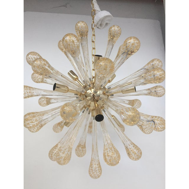 Murano Glass Gold and Transparent Sputnik Chandelier For Sale - Image 6 of 7