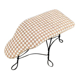 1950s Sloped Houndstooth Iron-Leg Footstool or Ottoman For Sale