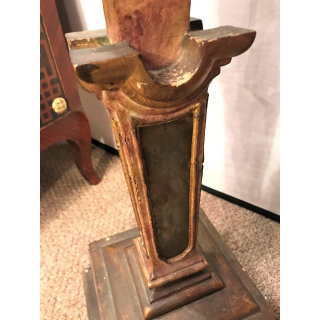Neoclassical A Continental Italian Gilt Distressed Continental Pedestal For Sale - Image 3 of 11
