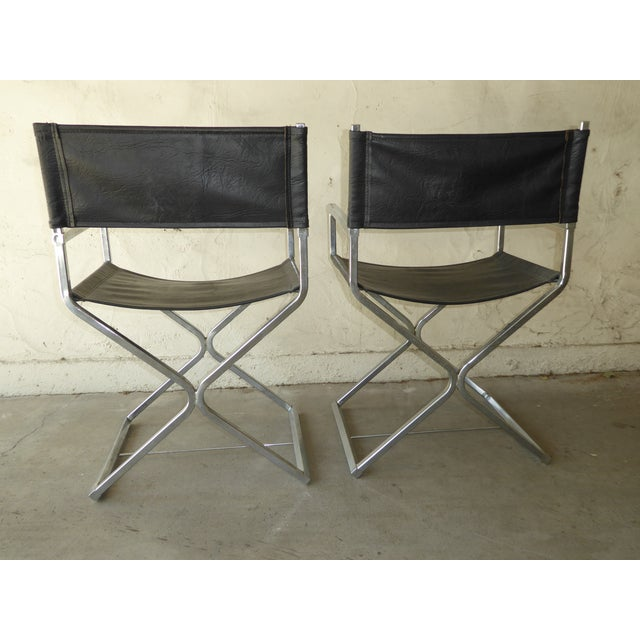 Vintage Contemporary Black Chrome Accent Chairs - A Pair For Sale - Image 11 of 11