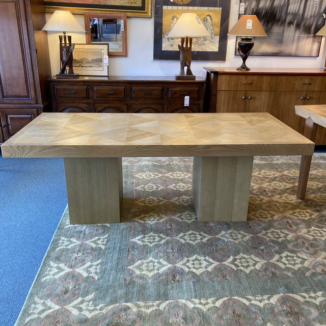 Custom Modern Oak Inlay Dining Table For Sale - Image 13 of 13