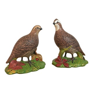 1970s Vintage Ceramic Quail Figurines - A Pair For Sale