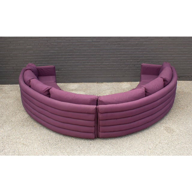 Milo Baughman for Thayer Coggin 1970s Channel Back Semi-Circular Sectional Sofa For Sale - Image 10 of 12