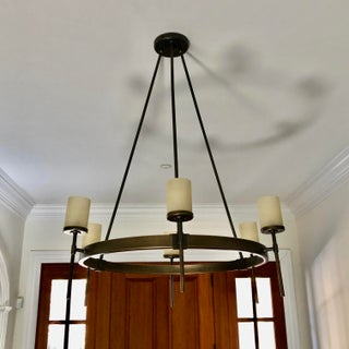 Transitional Oiled Bronze 6 Arm Williams Sonoma Chandelier Preview