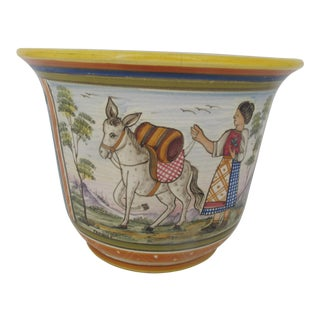 Franco Deruta Colorful Italian Folk Art Floral Majolica Cache Pot Vase Pottery For Sale
