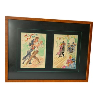 Framed Argentina Tango Dancers by Ofelia Barbosa For Sale