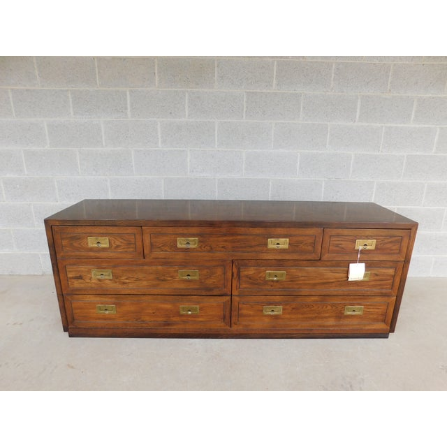 Features Quality Solid Construction - Campaign Styel with Brass Hardware, 7 Dovetailed Drawers - Approx 30 years old )...