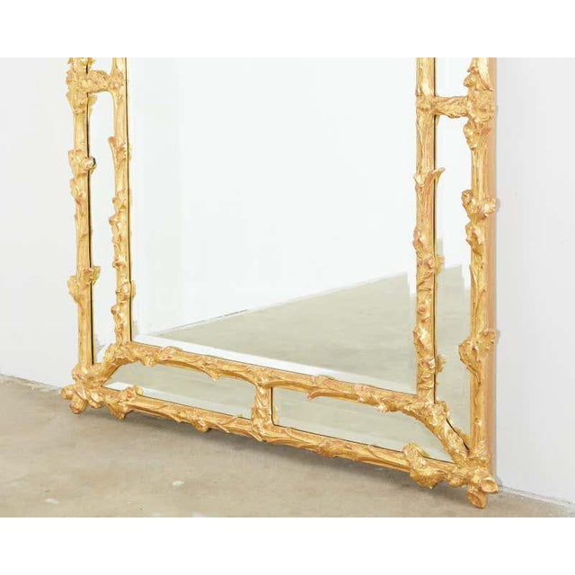 Italian Carved Gilt Wood Faux Bois Cushion Mirror For Sale In San Francisco - Image 6 of 13