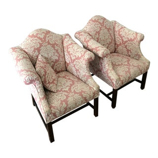 Classic Traditional Chippendale Camelback Upholstered Arm Chairs - A Pair For Sale