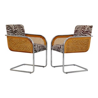 Mid Century Modern Pair Chrome Rattan Armchairs- A Pair For Sale