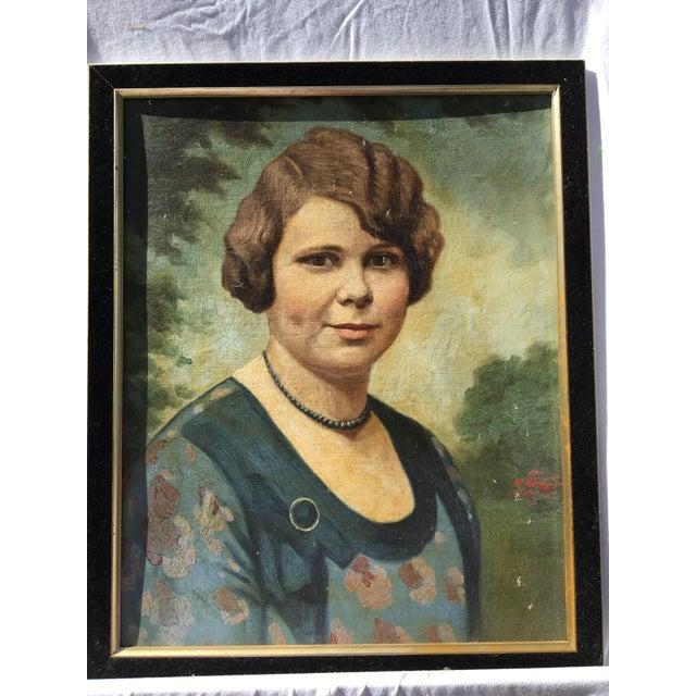 Vintage Mid-Century Oil Portrait - Image 2 of 4