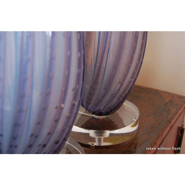 Silver Vintage Murano Opaline Glass Table Lamps Lavender For Sale - Image 8 of 9