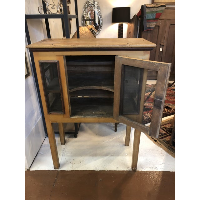 Rare, primitive pie safe with original paint and hardware, circa 1900. Purchased at a Tennessee estate. This wooden pie...