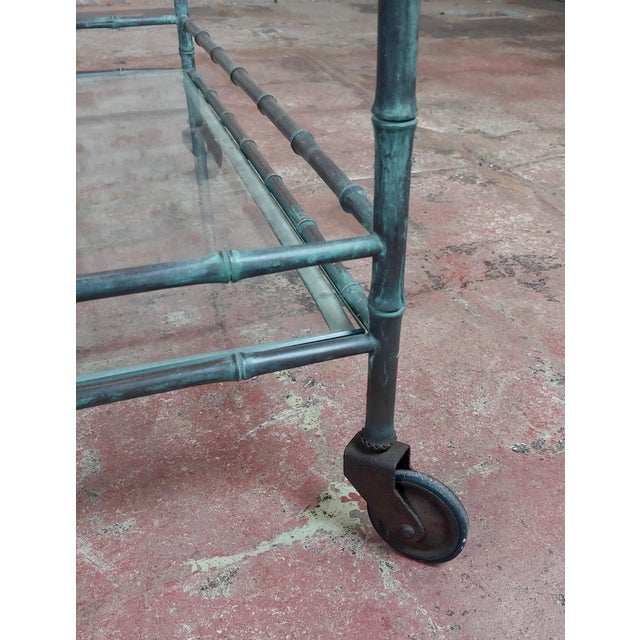 Bronze 1930s Vintage Faux Bamboo Patinated Bronze Serving Bar Cart For Sale - Image 8 of 11