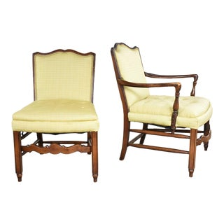 Pair of Georgian Revival His and Hers Accent Chairs in Golden Yellow For Sale