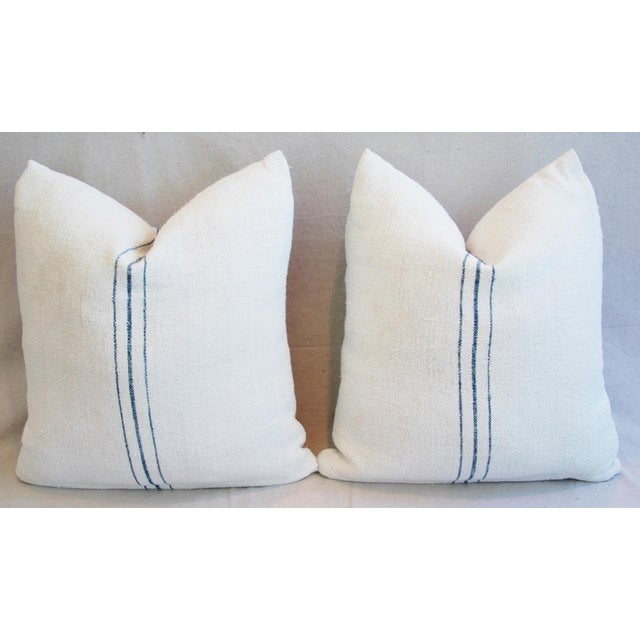 Vintage French Grain Sack Textile Pillows - A Pair - Image 8 of 10